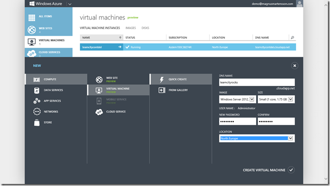 Creating a Virtual Machine in Windows Azure.
