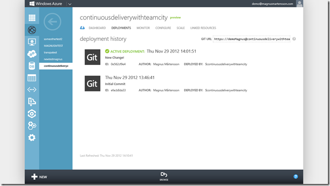 Two deployment versions in the Windows Azure Portal