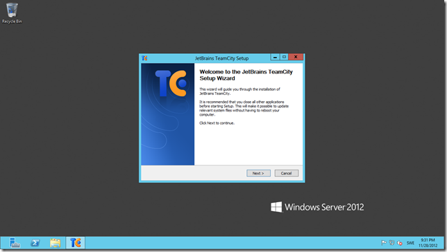 Download and launch the TeamCity installer.