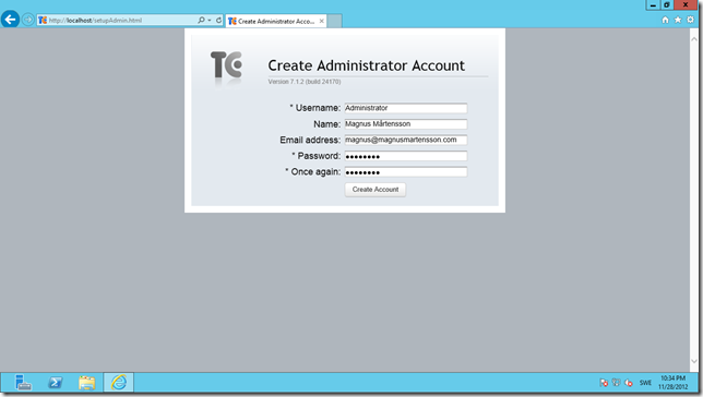 Create an admin account