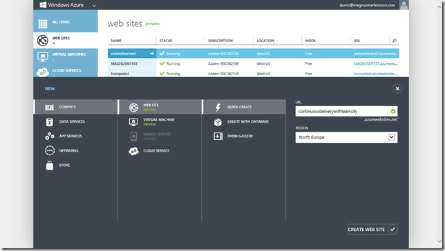 Create a new Windows Azure Web Site (WAWS)