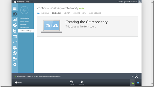 Set up a Git Repository in Windows Azure for your Web Site.